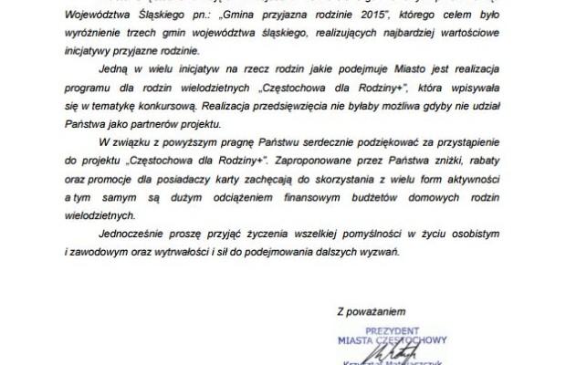 """Prezydent miasta Częstochowy – Partner """"Częstochowa dla rodziny+"""""""